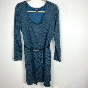 Le Chateau Blue Knee Length Dress Belted Size XXL